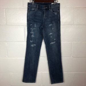 Two Vince Camuto Distressed Straight Leg Jeans 25